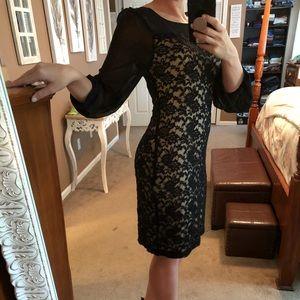 Black lace long sleeved dress